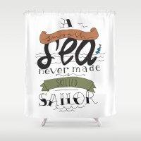 sailor Shower Curtains featuring sailor by alyfolk
