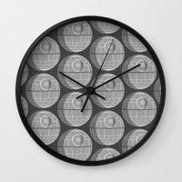 death star Wall Clocks featuring Star Wars Death Star by foreverwars