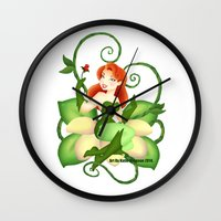 poison ivy Wall Clocks featuring Poison Ivy  by Katie Simpson a.k.a. Redhead-K