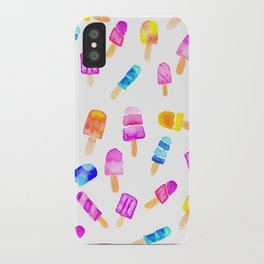 Modern watercolor bright hand paint summer ice cream pattern iPhone Case