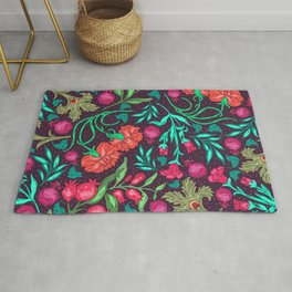 Asian-Inspired Happy Joy Colorful Floral Pattern Rug
