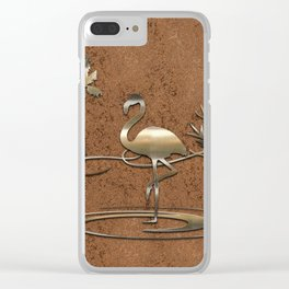 Funny Flamingo in Copper & Gold Clear iPhone Case