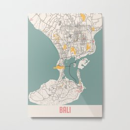 Bali - Indonesia Chalk City Map Metal Print