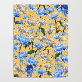Mums Pattern  |  Yellow-Blue-Cream-White Poster