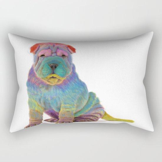 Colorful Sharpei Rectangular Pillow
