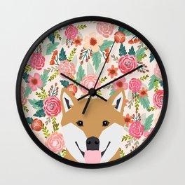Shiba Inu floral dog face cute peeking shiba inus gifts Wall Clock