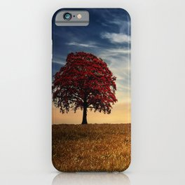 Red tree in the golden field iPhone Case