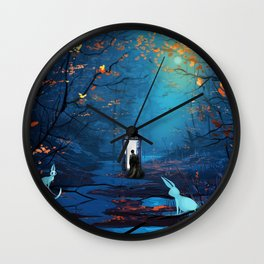 Tardis And The Doctor Lost In The Forest Wall Clock