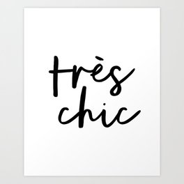 Tres Chic black and white monochrome typography poster design home wall bedroom decor canvas Art Print