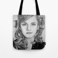 emma watson Tote Bags featuring Emma Watson by Lindsay Hall
