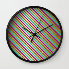 Glitter Stripes Wall Clock