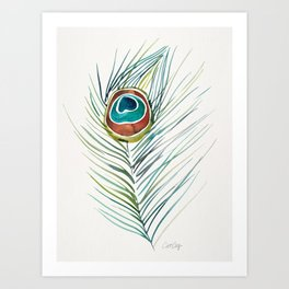Peacock Tail Feather – Watercolor Art Print