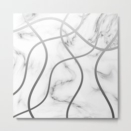Marble Rounded Lines Metal Print