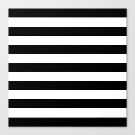 Horizontal Stripes (Black/White) Canvas Print