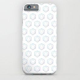 D20 Roleplaying Die Icosahedron Line-Art Blue/Purple Pattern iPhone Case