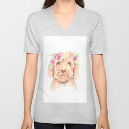 golden doodle watercolor Unisex V-Neck