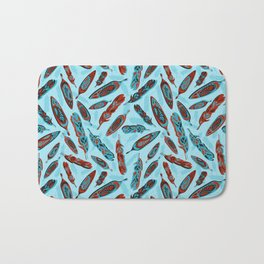 Tlingit Feathers Blue Bath Mat