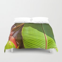 Banana leaves in the sun Duvet Cover