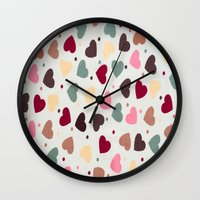 preppy Wall Clocks featuring Preppy Hearts by Welovepillows