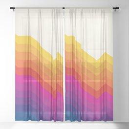 Seventies rainbow stripes Sheer Curtain