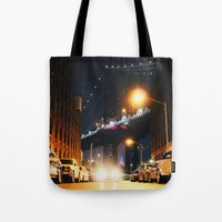dumbo Tote Bags featuring Dumbo, Brooklyn by Dominique Weber