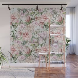 Blush pink lilac white lace country floral Wall Mural