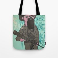 police Tote Bags featuring le police by liquidpig