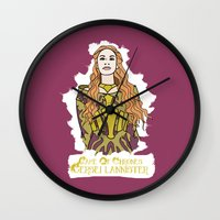 lannister Wall Clocks featuring Cersei by JessicaJaneIllustration