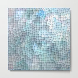Blue Quilt Abstract Metal Print