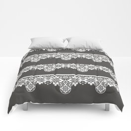 White seamless lace pattern on gray background Comforters