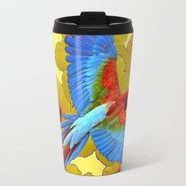 TROPICAL BLUE MACAW YELLOW HIBISCUS ART Travel Mug
