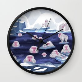 snow monkeys Wall Clock