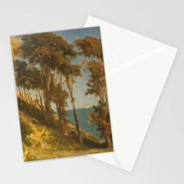 Frederic Leighton - A Wooded Hill with the Sea beyond Stationery Cards