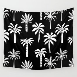 Palm Trees linocut black and white tropical summer art minimalist decor Wall Tapestry