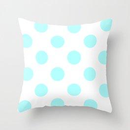 Large Polka Dots - Celeste Cyan on White Throw Pillow