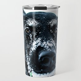 Snow Dog // Cross Country Skiing Black and White Animal Photography Winter Puppy Ice Fur Travel Mug