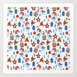 Modern red blue white christmas trees birds stars pattern Art Print