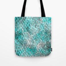 Aqua Raindrops Tote Bag