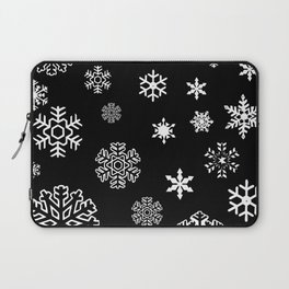 Modern black white hand painted snow flakes Laptop Sleeve
