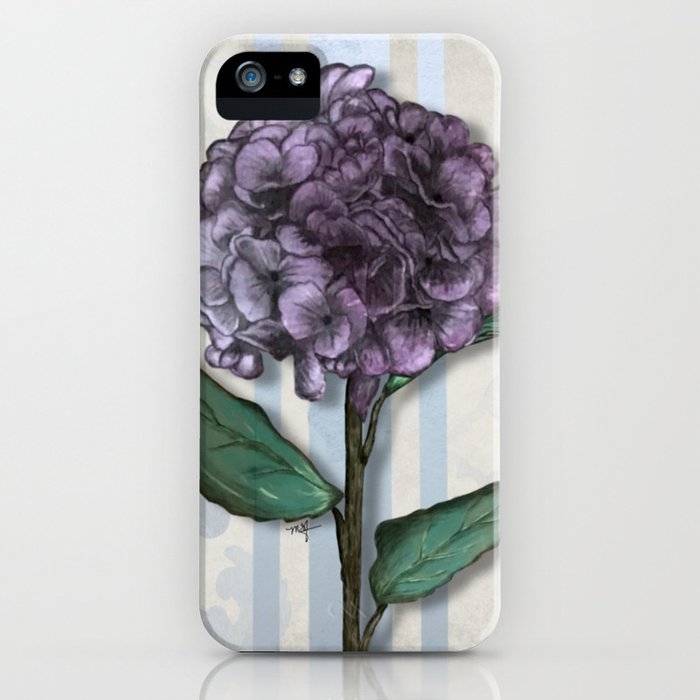 Hydrangea Damask and Quartrefoil Mixed Media iPhone Case