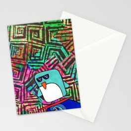 swirls&squares surfing penguin Stationery Cards