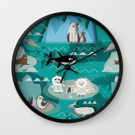 Arctic animals teal Wall Clock