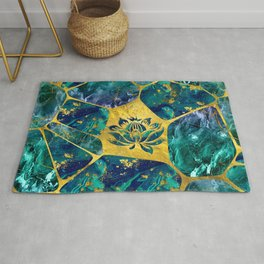 Lotus Flower on Gemstone Crystal Voronoi diagram Rug
