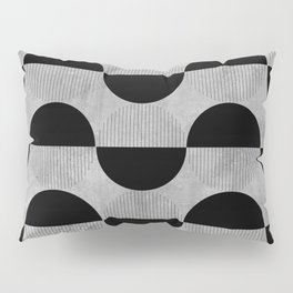 Black abstract 60s circles on concrete - Mix & Match with Simplicty of life Pillow Sham