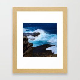 Luxurious, Tropical Ocean Surf in Azure and Turquoise Framed Art Print