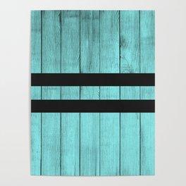 Design Blue Wood Stripes Poster