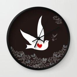 Wings of Love - Black Red Wall Clock