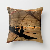 rowing Throw Pillows featuring Rowing by Robin Curtiss