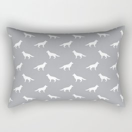 German Shepherd silhouette grey and white minimal dog breed pattern dogs dog art Rectangular Pillow
