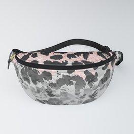 Black white leopard print pink glitter bohemian floral Fanny Pack